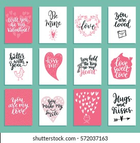 Collection of a lovely greeting cards set. Perfect for valentine day, wedding and birthday holidays design