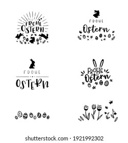 """Collection of lovely hand drawn easter designs with text in german """"Happy Easter"""" cute hand drawn bunnies, eggs and decoration - vector design"""