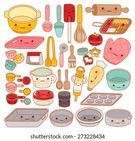 Collection of lovely pastry tool and equipment , cute rolling pin  , adorable pan , sweet mitt Isolated on white in girly kawaii manga cartoon style - Vector file EPS10