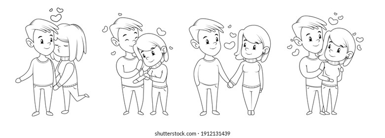 Collection of loving couples in the drawn style on a white background. Couple in an embrace, kiss, hold hand. Vector illustration