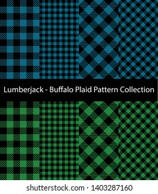 Collection of Lumberjack / Buffalo Plaid Patterns. Decorative blue and green textile backgrounds.