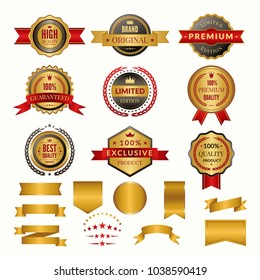 Collection of luxury gold badges and logos. Vector labels set for yours personal design projects. Gold badge and label quality and premium golden illustration