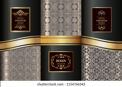 Collection of Luxury Golden Patterns. Collection oriental seamless pattern. Golden vintage design elements. Elegant Decorative ornament for wallpaper, fabric, paper, invitation.