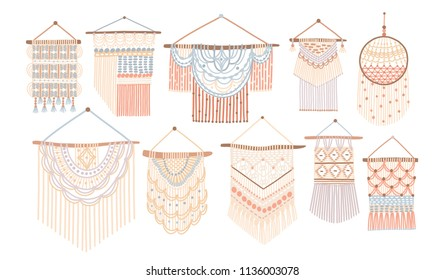 Collection of macrame wall hangings. Bundle of elegant handmade home decorations made of cotton cord isolated on white background. Colorful hand drawn vector illustration in flat cartoon style