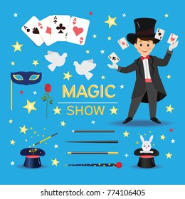 Collection of magician attributes.Isolated on blue background. Cartoon style. Vector illustration
