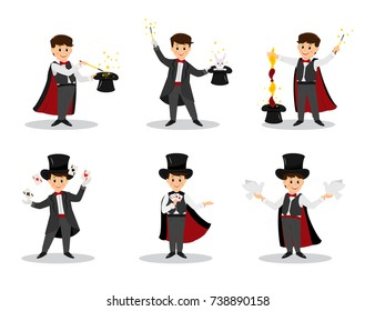 Collection of magicians.Magicians with doves, playing cards, magic winds and hats.Isolated on white background. Cartoon style. Vector illustration