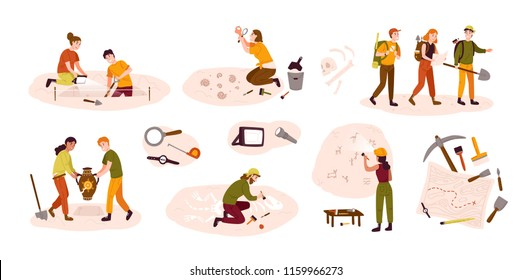 Collection of male and female archaeologists excavating historical artifacts from archaeological site, examining cave paintings, digging ground. Colorful vector illustration in flat cartoon style.