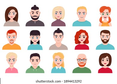 collection of male and female avatars isolated on a white background. boys and girls, men and women. vector illustration.