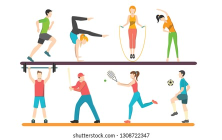 Collection of male and female cartoon characters performing  activities. Set of men and women dressed in skiing, playing sports. Flat vector illustration.