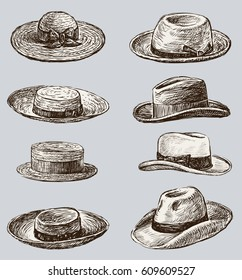 Collection of the male and female hats