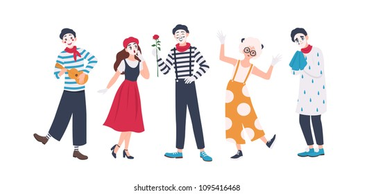 Collection of male and female mimes isolated on white background. Set of people acting out stories through body motions. Bundle of performance artists or performers. Flat cartoon vector illustration