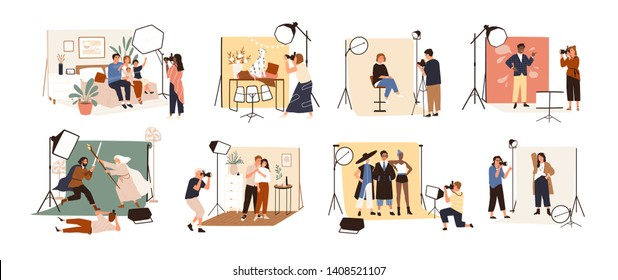 Collection of male and female photographers working at photographic studio and photographing various models during photo session - dog, family, couple, celebrity. Flat cartoon vector illustration.