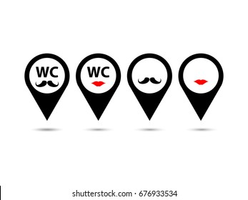 Collection of male and female restroom symbols in location icons isolated on white background. Set of funny wc sign in gps icons. EPS10 vector illustration for restaurant, airport, cafe's toilet sign.