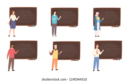 Collection of male and female school or college teachers, professors, education workers standing beside chalkboard, holding pointer and teaching. Colorful vector illustration in flat cartoon style.