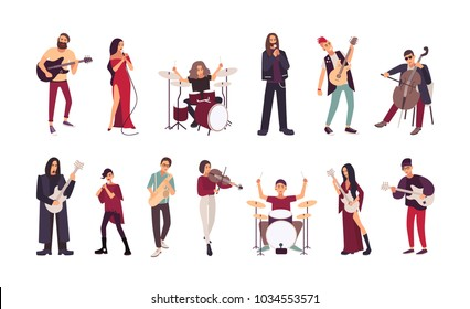 Collection of male and female singers and musicians isolated on white background. Men and women singing and playing guitar, cello, drum kit, violin, saxophone. Cartoon flat vector illustration.