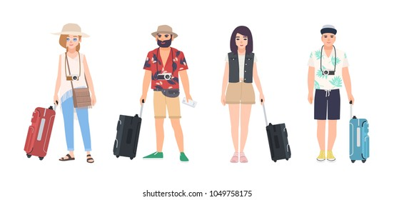 Collection of male and female travelers dressed in summer clothes. Set of men and women tourists with suitcases. Modern cartoon characters isolated on white background. Colorful vector illustration