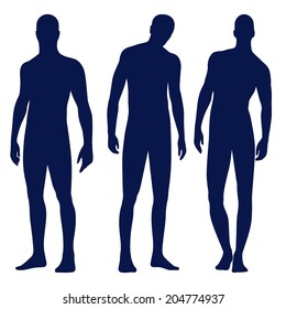 Collection of male silhouettes in front view. Vector illustration, isolated on white background