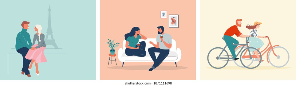 Collection of man and woman cartoons - romantic couple dating. Couples sitting at home or in a coffee shop walking Paris or riding bikes. Flat cartoon colorful vector illustrations