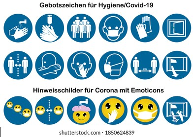 """Collection of mandatory signs for Covid-19 with information signs with emoticons. Vector Text file in German """"Mandatory signs for hygiene / Covid-19"""" and """"Information signs for Corona with emoticons"""""""