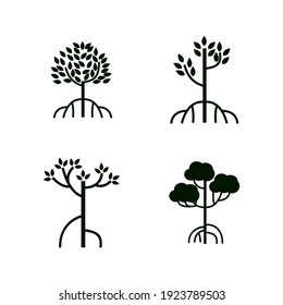 Collection mangrove tree, leaf and roots, with silhouette style, the icons of black and white color.