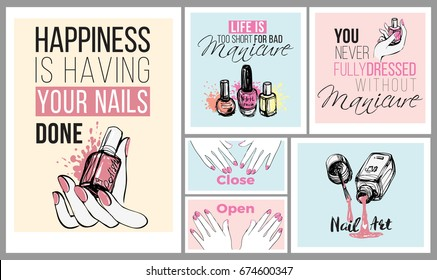 Collection of manicure salon positive banners. Fashion illustrations in watercolor style. Nail lacquer, polish and other ads for decorate nail spa salon. T-shirts print ideas.