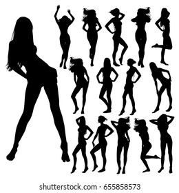 Collection of many black vector silhouettes of beautiful women. Silhouettes of bikini girls in standing positions. Vector profile of slim woman body.
