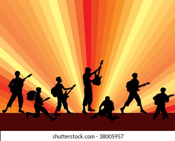 a collection from many young guitarist-silhouette