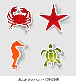 collection of marine animals in the form of stickers