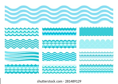 Collection of marine waves. Sea wavy, ocean art water design. Vector illustration