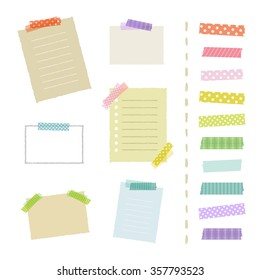 Collection of masking tape pieces and papers / vector eps 10 illustration