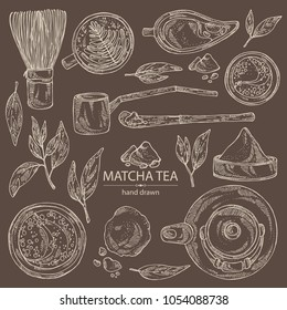 Collection of matcha green tea : matcha, bamboo matcha whisk, a cup of matcha and teapot. Ingredient for chinese and japanese tea ceremony. Vector hand drawn illustration.