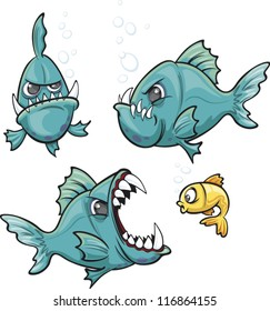 A collection of mean cartoon piranha fish