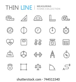 Collection of measuring thin line icons