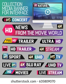 Collection media banner for interface, breaking news, full hd trailer, sport, live stream inscription and etc. Vector Illustration.