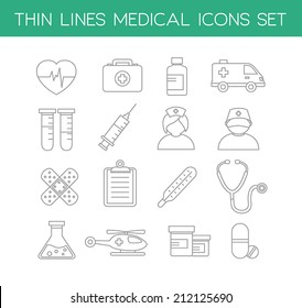 Collection of medical icons in modern thin line design style.