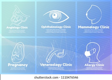 Collection of medical logos. Templates vector logos for venerology, pregnancy, mammalogy, ophthalmology, angiology and allergy clinics on blue innovative medical background.