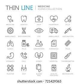 Collection of medical thin line icons