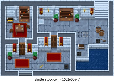 Collection of medieval castle and dungeon tiles and objects for creating top down fantasy RPG video games