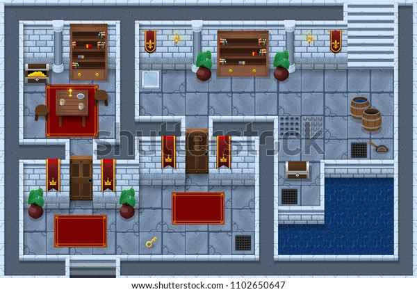 Collection Medieval Castle Dungeon Tiles Objects Stock