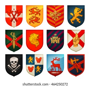 Collection of medieval shields and coat of arms. Kingdom, empire, castle vector symbols