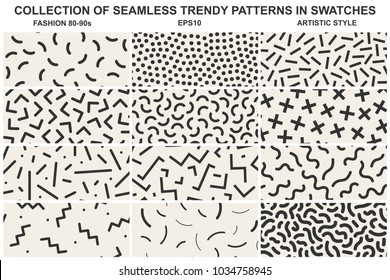 Collection of memphis seamless patterns. Fashion style 80-90s. You can find seamless backgrounds in swatches panel.