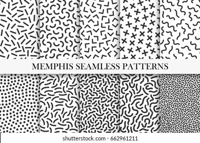 Collection of memphis seamless patterns. Fashion 80-90s. Black and white mosaic textures. You can find seamless backgrounds in swatches panel.