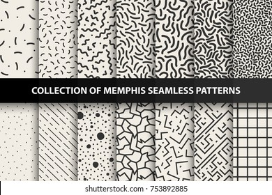 Collection of memphis seamless patterns. Fashion 80-90s. You can find seamless backgrounds in swatches panel.