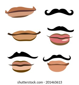 Collection of men mouths with lips