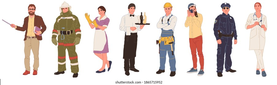 A collection of men and women of different professions or professions in professional uniform - builder, firefighter, doctor, waiter, cleaner, photographer, teacher, policeman. Cartoon flat vector