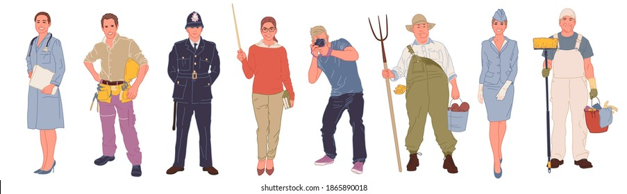 A collection of men and women of different professions or professions in professional uniform - builder, farmer, doctor, stewardess, cleaner, photographer, teacher, policeman. Cartoon flat vector
