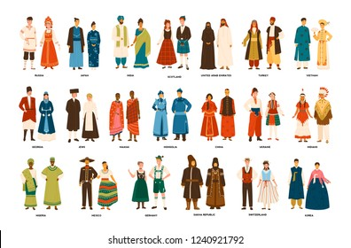 Collection of men and women dressed in folk costumes of various countries isolated on white background. Set of people wearing ethnic clothing. Colorful vector illustration in flat cartoon style.