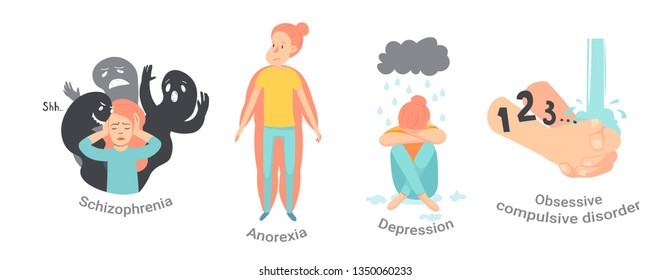 Collection of men and women with mental disorders, illnesses, impairments, psychiatric or psychological problems. Flat cartoon characters isolated on white background. Colorful vector illustration.