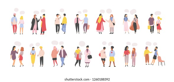 Collection of men and women standing and speaking, talking, chatting, delivering verbal messages to each other isolated on white background. Set of dialogs or conversations. Flat vector illustration.