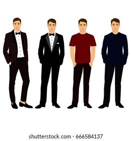 Collection. Men's Clothing. Wedding men's suit, tuxedo. Vector illustration.